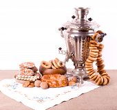 Samovar, a traditional old Russian tea kettle with fruits