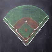 Chalkboard Baseball Field: Square