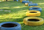 Playground - Recycled Materials - Colored Tires - Kart Practice For Protection