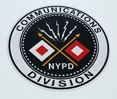 NYPD Communications Division emblem on command post  in Brooklyn, NY