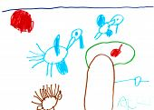 Child's Drawing - Flying Storks
