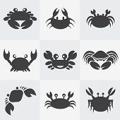stock photo of claw  - Set of vector crab icons on gray background - JPG