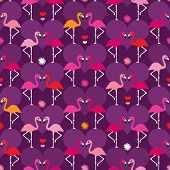 Seamless flamingo bird purple kids illustration background pattern in vector