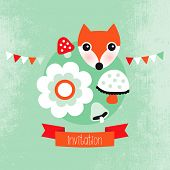 image of toadstools  - Adorable pastel hipster fox unisex cover template  illustration design in vector - JPG