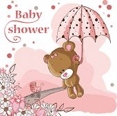 Baby shower card - Baby girl bear and umbrella