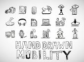 Vector hand drawn mobility icons doodles