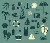 Summer Seaside Icons - Set of simple summer icons, including swimsuit, summer hat, flip-flops, scuba