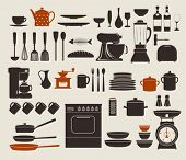 Kitchen Appliances, Utensils and Icons - Set of kitchen icons, including stove, pots, frying pens, b