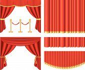 red theater curtains photo realistic vector set