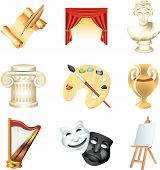 art icons detailed vector set