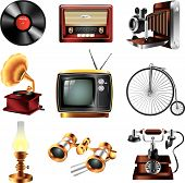 stock photo of kerosene lamp  - vintage retro objects icons detailed vector set - JPG