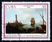 Postage Stamp Cuba 1983 Port, By Claude Joseph Vernet