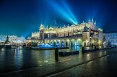 stock photo of dark side  - Krakow old city at night - JPG