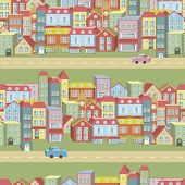 Vector Seamless Pattern With Houses And Roads