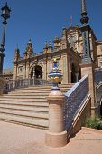 SEVILLE, SPAIN - MAY 14: Close up of the main building of the Plaza de Espana on May 14, 2013 in Sev