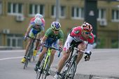 KIEV, UKRAINE - MAY 24: Zsolt Der, Hungary (first) and other riders in the bicycle racing Race Horiz