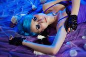 Gothic Woman With Blue Hairs With Roses
