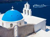 Blue Dome Church Santorini Greece