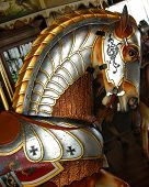 stock photo of burlington  - closeup of old time carousel horse in burlington colorado - JPG