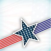 4th July, American Independence Day background with star in national flag colors on grey background