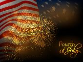 4th July, American Independence Day celebration background with waving national flag.