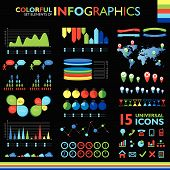 Colorful Infographics Set On Black Background And Icons Set.