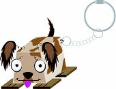 Cute Futuristic Dog Showing Tongue Key Ring