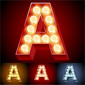 Vector illustration of realistic old lamp alphabet for light board. Red Gold and Silver options. Let