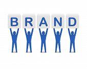 Men holding the word brand. Concept 3D illustration. poster