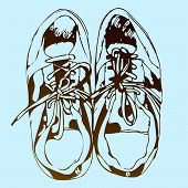 Sneakers hand drawn sketch on blue background, vector illustration