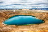 Viti is a beautiful crater lake of a turquoise color located on the North-East of Iceland, at Krafla