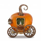 pic of cinderella coach  - Pumpkin carriage isolated on a white background - JPG