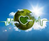 Green and white waveform with green earth and heart shape on blue sky background