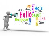 White figure revealing hello in different languages with a megaphone on white background