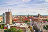 GDANSK, POLAND - 1 OCT 2010: Panorama of Gdansk city centre on 1 October 2010. Gdansk is a Polish ci