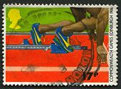 UK - CIRCA 1986: A stamp printed in UK shows image of the Athletics - Thirteenth Commonwealth Games,