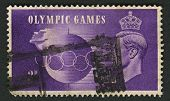 UK - CIRCA 1948: A stamp printed in UK shows image of the Olympic Games, speed, circa 1948.