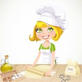 ? Ute Blond Girl Baking Cookies Isolated On White Background