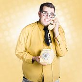 Geeky Businessman On Important Phone Call