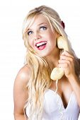 Gorgeous Blond Woman Laughing On Telephone Call