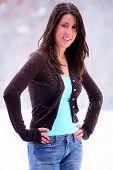 Pretty Woman In Snowstorm