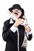 picture of dork  - Quirky person wearing dork glasses and plastic moe rolling out loads of printed american bank notes - JPG
