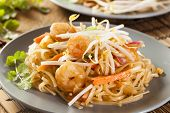 stock photo of bean sprouts  - Homemade Asian Pad Thai with shrimp and cilantro - JPG