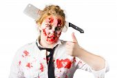 Bloody Woman With Cleaver In Head