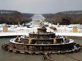Fountain In The Garden Of The Royal Residence At Versailles Near Paris In France In The Winter Scene