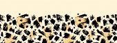 pic of cheetah  - Vector animal brush stroke horizontal seamless pattern background border with hand drawn elements - JPG