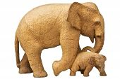 Elephants Wood Carving.