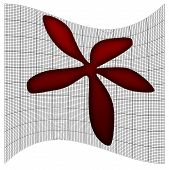 Pretty Red Flower On Scientific Graph Paper Grid