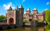 stock photo of fortified wall  - Ancient De Haar castle near Utrecht - JPG