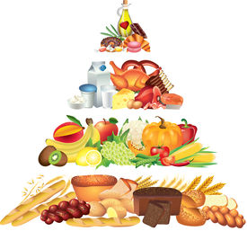 pic of food pyramid  - colorful food froducts pyramid photo realistic illustration - JPG